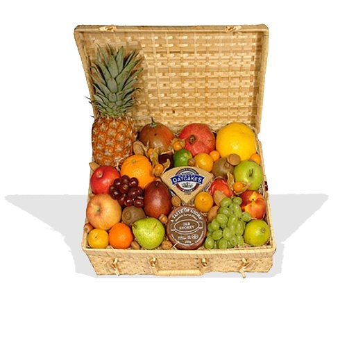 Luxury Fruit Hamper with Cheese & Oatcakes