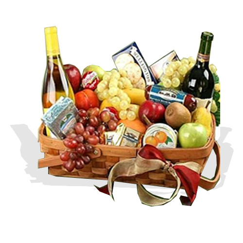 Gourmet Fruit Basket  with Wine  (FG20)