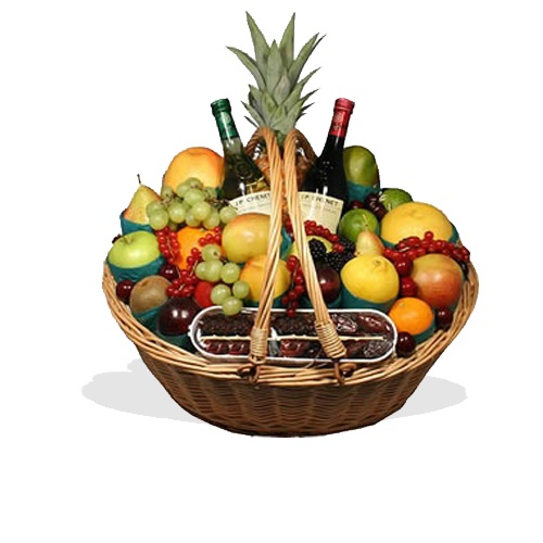 Fruit Basket with Red & White Wine  (BB2)