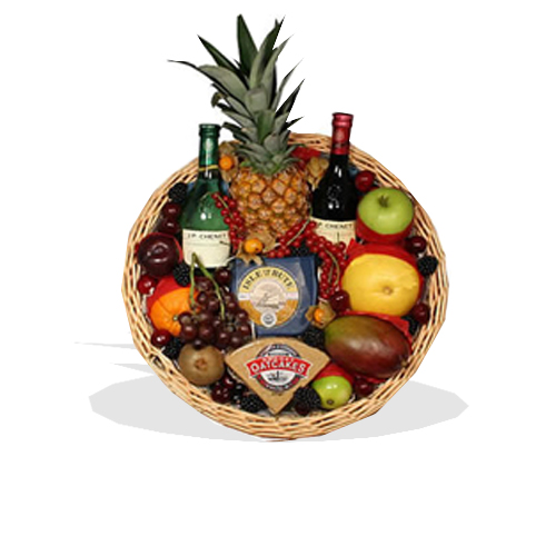Fruit Tray With Wine & Cheese